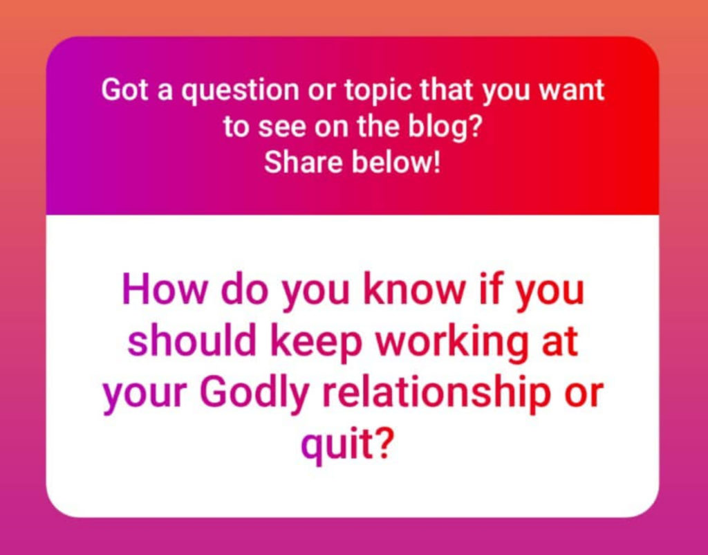 BLISSforSingles, keep working or quit, godly relationships